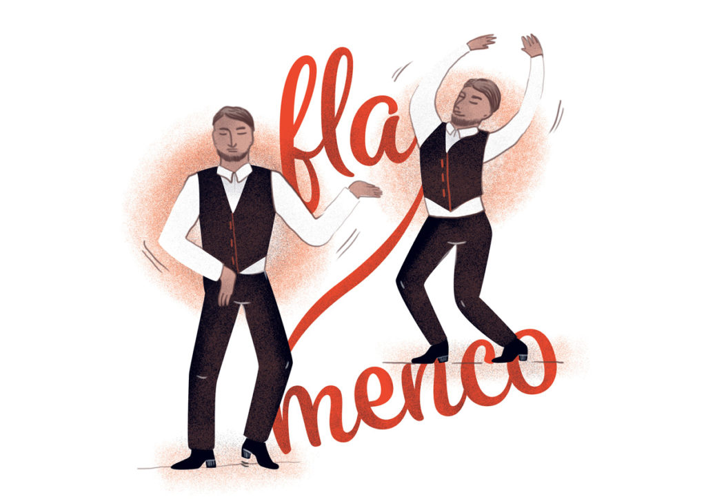 illustration dessin danseur de Flamenco