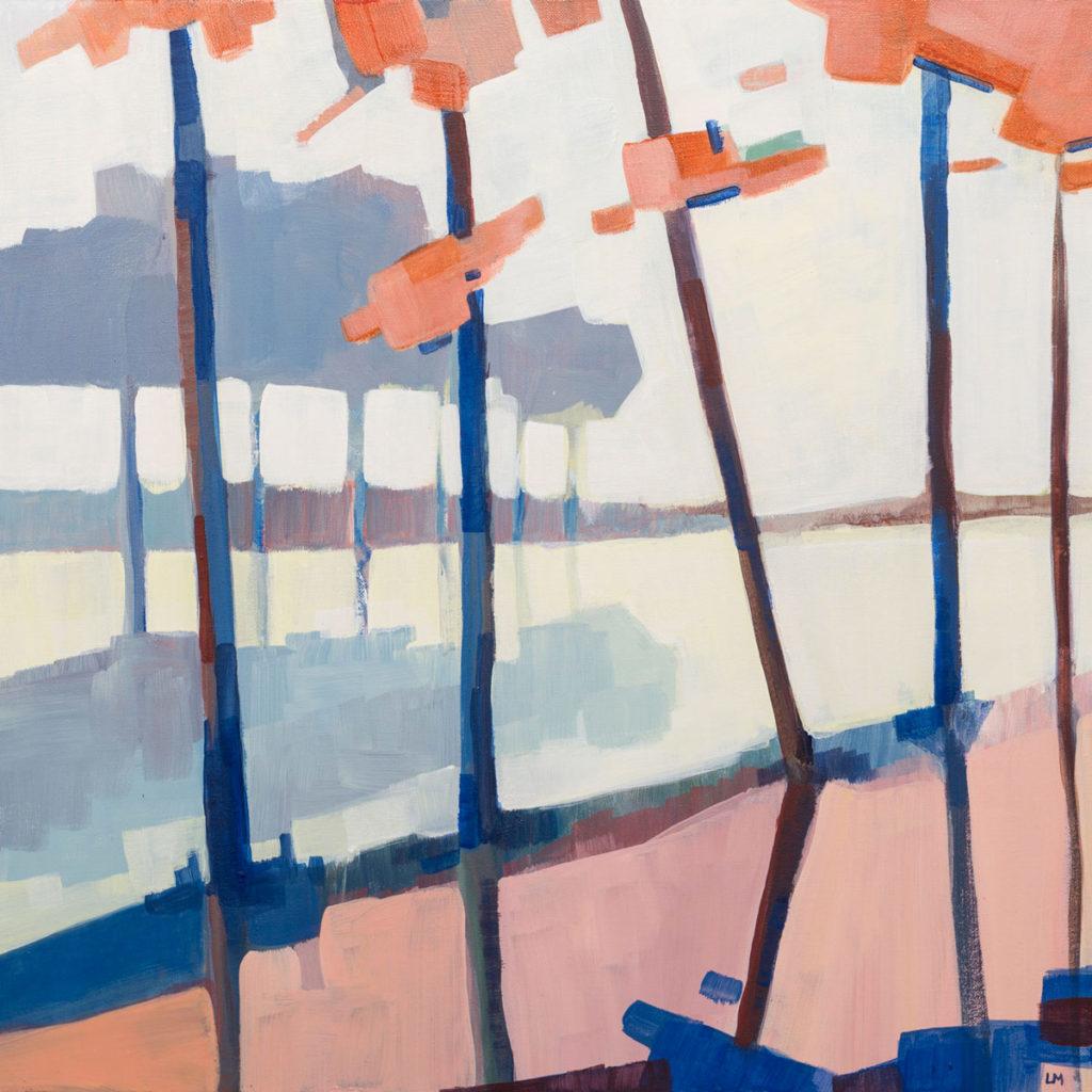 Peinture acrylique Bord de lac Arbres bleus