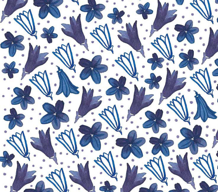 Motif fleuri campanules violettes
