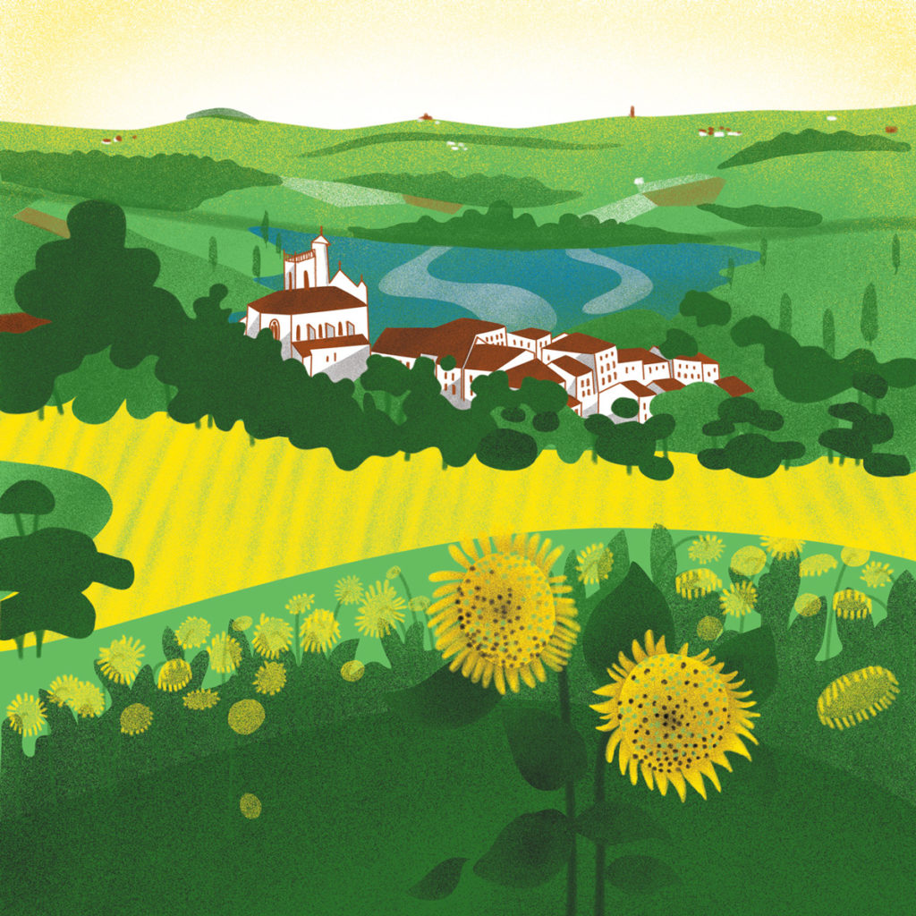 Dessin illustration Paysage du sud-ouest Lamontjoie avec champs de tournesols