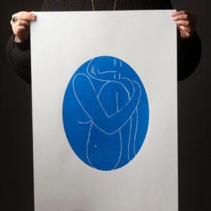 Estampe Gravure Ovale Femme Bleue