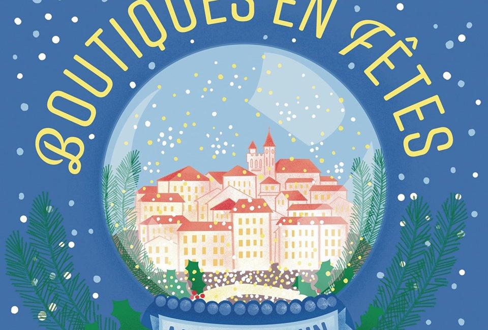Affiche illustrée Boule à neige Monflanquin